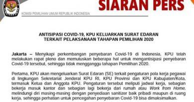 Terbitkan SE Wabah Corona, KPU Belum Ada Opsi Penundaan Tahapan Pemilu