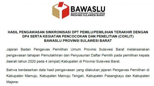 Bawaslu Sulbar Kirim Ribuan Temuan Proses Coklit ke KPU
