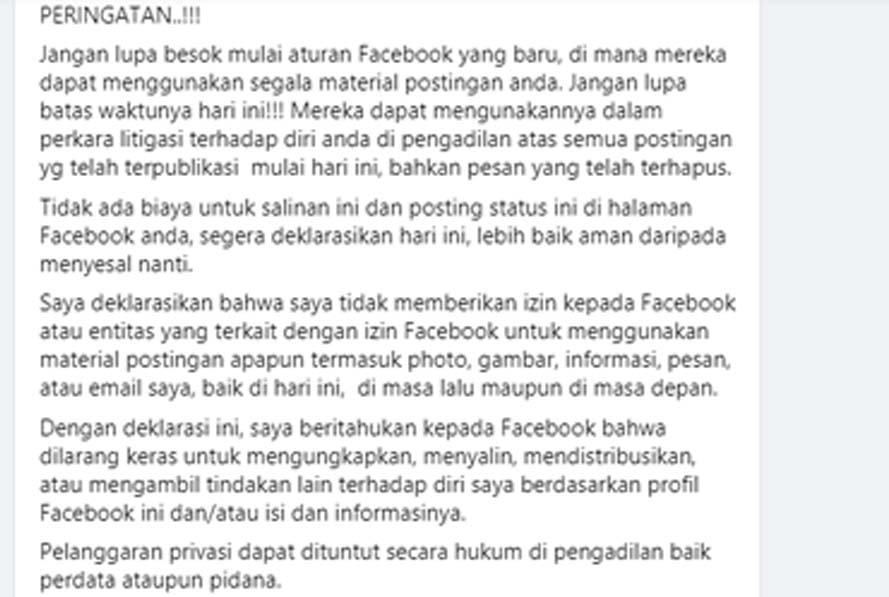 Facebook Bantah Sejumlah Deklarasi Warga Facebook