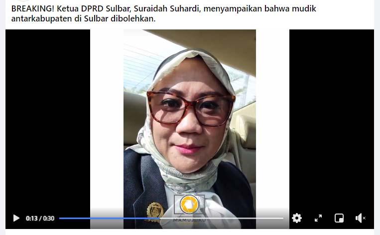 Keren, Ketua DPRD: Mudik Lokal Sulbar Dibolehkan